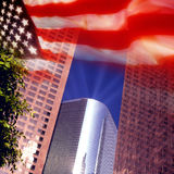 Los Angeles and US Flag. The skyscrapers of Los Angeles with the flag of the United States of America Stock Photos