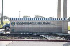 Free Los Angeles/ USA – 02.02.2020 : Dockweiler State Beach  Sign Entry Of The Parking Lot Stock Images - 174758864