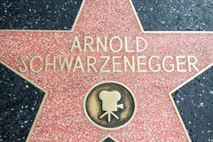 Los Angeles, USA - April 2018: Arnold Schwarzenegger-Stern am Hollywood-Straßenboulevard in Los Angeles, Kalifornien, USA Arnold  lizenzfreie stockbilder