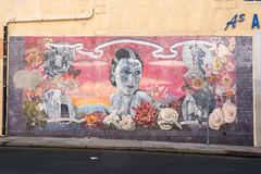 LOS ANGELES, USA - AUGUST 1, 2014 - movie wall painting on  Walk of Fame Royalty Free Stock Images