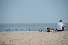LOS ANGELES, USA - AUGUST 5, 2014 - people in venice beach landscape Stock Photography