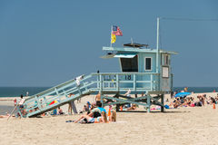 LOS ANGELES, USA - AUGUST 5, 2014 - people in venice beach landscape Stock Photos