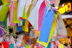 Los Angeles, USA - August 8, 2016 : Wish write on small color paper in Wishing tree at Little Tokyo, famous attraction place Royalty Free Stock Image