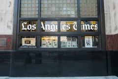 Los Angeles USA - Augusti 8, 2016: Den Los Angeles Times byggnaden som lokaliseras på 1st och vårgator i i stadens centrum Los An royaltyfri fotografi
