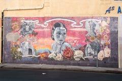 LOS ANGELES USA - AUGUSTI 1, 2014 - filmväggmålning på Walk av berömmelse royaltyfria bilder