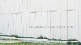 Los Angeles USA - Augusti 8, 2016: trevlig yttre designarkitektur av Los Angeles polisenbyggnad i centrum royaltyfri fotografi
