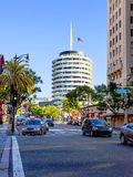 Los Angeles, USA, 2016:02:25 Building, `Capitol records` on Hollywood Boulevard Royalty Free Stock Photos
