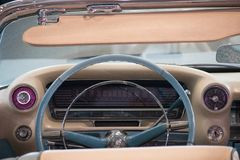 Los Angeles, USA - January 2017. Inside of an old blue cadillac eldorado.  Royalty Free Stock Photography