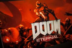 LOS ANGELES, USA - JUNE 11, 2019: game DOOM Eternal Illustrative editorial. LOS ANGELES, USA - JUNE 11, 2019: game DOOM Eternal on a computer monitor, a gamer stock photography