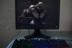 LOS ANGELES, USA - JUNE 11, 2019: game DOOM Eternal Illustrative editorial. LOS ANGELES, USA - JUNE 11, 2019: game DOOM Eternal on a computer monitor, a gamer stock photo