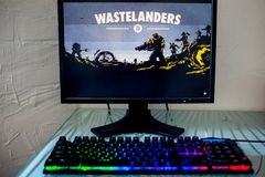 LOS ANGELES, USA - JUNE 11, 2019: game Fallout 76 Illustrative editorial. LOS ANGELES, USA - JUNE 11, 2019: game Fallout 76 on a computer monitor, a gamer stock image