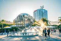 LOS ANGELES, USA - March, 2018: Universal Studios globe at the Entrance into the Universal Studios Hollywood Park, the royalty free stock photos