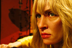 Uma Thurman as the Bride from Kill Bill in Madame Tussauds Hollywood Royalty Free Stock Image