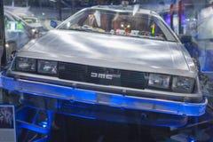 Los Angeles - USA, Oktober, 3: De Lorian DMC-12 bil på skärm på arkivbild