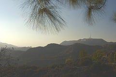 Los Angeles-USA, Oktober, 3: Sikt på den Hollywood kullen i Los Angele arkivfoto