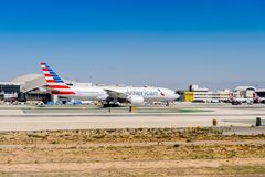 Los Angeles International Airport (LAX). LOS ANGELES, USA - SEP 26, 2015: American Airlines aircraft at the Los Angeles International Airport (LAX) , the primary Royalty Free Stock Photography