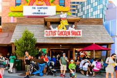 Universal Studios Hollywood Park, Los Angeles, USA. LOS ANGELES, USA - SEP 27, 2015: Cletus Chicken Snack at The SImpsons area of the Universal Studios Hollywood Stock Photography