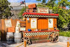 Universal Studios Hollywood Park, Los Angeles, USA. LOS ANGELES, USA - SEP 27, 2015: Donkey waffles wagon in Shrek area in the Universal Studios Hollywood Park Royalty Free Stock Image