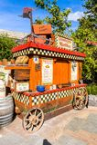 Universal Studios Hollywood Park, Los Angeles, USA. LOS ANGELES, USA - SEP 27, 2015: Donkey waffles wagon in Shrek area in the Universal Studios Hollywood Park Royalty Free Stock Images
