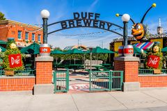 Universal Studios Hollywood Park, Los Angeles, USA. LOS ANGELES, USA - SEP 27, 2015: Duff Brewery at The SImpsons area of the Universal Studios Hollywood Park Royalty Free Stock Images