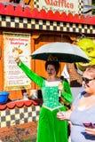 Universal Studios Hollywood Park, Los Angeles, USA. LOS ANGELES, USA - SEP 27, 2015: Fiona and Shrek in Shrek area in the Universal Studios Hollywood Park. Shrek Stock Photography