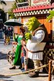 Universal Studios Hollywood Park, Los Angeles, USA. LOS ANGELES, USA - SEP 27, 2015: Fiona and Shrek in Shrek area in the Universal Studios Hollywood Park. Shrek Stock Images