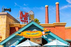 Universal Studios Hollywood Park, Los Angeles, USA. LOS ANGELES, USA - SEP 27, 2015: Hot dog House at The SImpsons area of the Universal Studios Hollywood Park Royalty Free Stock Image