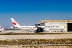 Los Angeles International Airport (LAX). LOS ANGELES, USA - SEP 26, 2015: Japan Airlines aircraft at the Los Angeles International Airport (LAX) , the primary Royalty Free Stock Photography