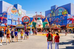 Universal Studios Hollywood Park, Los Angeles, USA. LOS ANGELES, USA - SEP 27, 2015: Krusty land at The SImpsons area of the Universal Studios Hollywood Park Royalty Free Stock Photo