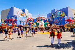 Universal Studios Hollywood Park, Los Angeles, USA. LOS ANGELES, USA - SEP 27, 2015: Krusty land at The SImpsons area of the Universal Studios Hollywood Park Royalty Free Stock Photography
