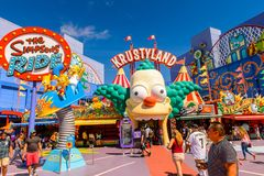 Universal Studios Hollywood Park, Los Angeles, USA. LOS ANGELES, USA - SEP 27, 2015: Krusty land at The SImpsons area of the Universal Studios Hollywood Park Stock Photos