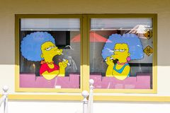 Universal Studios Hollywood Park, Los Angeles, USA. LOS ANGELES, USA - SEP 27, 2015: Marge sisters at The SImpsons area of the Universal Studios Hollywood Park Royalty Free Stock Photo