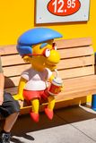 Universal Studios Hollywood Park, Los Angeles, USA. LOS ANGELES, USA - SEP 27, 2015: Milhouse Van Houten at The SImpsons area of the Universal Studios Hollywood Stock Images