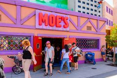 Universal Studios Hollywood Park, Los Angeles, USA. LOS ANGELES, USA - SEP 27, 2015: Moe's Bar at The SImpsons area of the Universal Studios Hollywood Park. The Royalty Free Stock Images