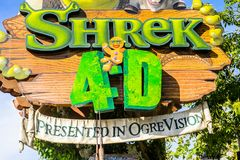 Universal Studios Hollywood Park, Los Angeles, USA. LOS ANGELES, USA - SEP 27, 2015: Shrek 4D area in the Universal Studios Hollywood Park. Shrek is a 2001 Royalty Free Stock Images