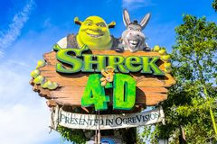 Universal Studios Hollywood Park, Los Angeles, USA. LOS ANGELES, USA - SEP 27, 2015: Shrek 4D area in the Universal Studios Hollywood Park. Shrek is a 2001 Stock Photo