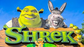 Universal Studios Hollywood Park, Los Angeles, USA. LOS ANGELES, USA - SEP 27, 2015: Shrek 4D area in the Universal Studios Hollywood Park. Shrek is a 2001 Stock Images