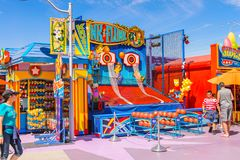 Universal Studios Hollywood Park, Los Angeles, USA. LOS ANGELES, USA - SEP 27, 2015: The SImpsons area of the Universal Studios Hollywood Park. The Simpsons is Royalty Free Stock Photo