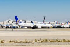 Los Angeles International Airport (LAX). LOS ANGELES, USA - SEP 26, 2015: United airlines aircraft at the Los Angeles International Airport (LAX) , the primary Stock Photos