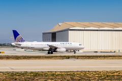 Los Angeles International Airport (LAX). LOS ANGELES, USA - SEP 26, 2015: United airlines aircraft at the Los Angeles International Airport (LAX) , the primary Royalty Free Stock Photos