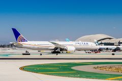 Los Angeles International Airport (LAX). LOS ANGELES, USA - SEP 26, 2015: United airlines aircraft at the Los Angeles International Airport (LAX) , the primary Stock Image