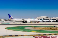 Los Angeles International Airport (LAX). LOS ANGELES, USA - SEP 26, 2015: United airlines aircraft at the Los Angeles International Airport (LAX) , the primary Royalty Free Stock Images