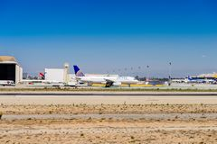 Los Angeles International Airport (LAX). LOS ANGELES, USA - SEP 26, 2015: United airlines aircraft at the Los Angeles International Airport (LAX) , the primary Royalty Free Stock Image