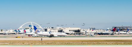 Los Angeles International Airport (LAX). LOS ANGELES, USA - SEP 26, 2015: United airlines aircrafts at the Los Angeles International Airport (LAX) , the primary Stock Photo