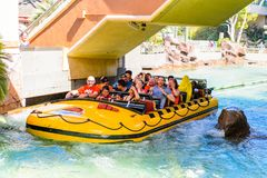 Universal Studios Hollywood Park, Los Angeles, USA. LOS ANGELES, USA - SEP 27, 2015: Water attraction in the Jurassic Park area in the Universal Studios royalty free stock images