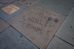 Los Angeles, California, USA, JUNE, 15, 2018: Outdoor view of celebrity foot and hand prints at the TCL Chinese Theatre. Los Angeles, USA. September 2016 stock photo