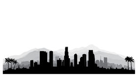 Los Angeles, USA skyline. City silhouette with skyscraper buildings, mountains and palm trees. Famous american cityscape. Los Angeles, USA skyline. City