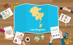 Los angeles usa united states america city region economy growth with team discuss on fold maps view from top stock illustration