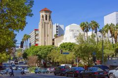 Los Angeles, USA,  Wilshire Boulevard. Wilshire Boulevard is one of the main streets in the city of Los Angeles, California, USA Stock Photo