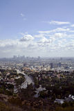 Los Angeles valley city scape. The Los Angeles valley with downtown in the background with clouds Stock Photography